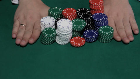 Poker player going all-in Footage