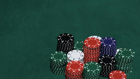 Casino. Stack of chips and two aces Stock Video Footage
