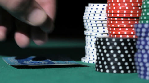 Poker. Bad combination of cards. Stack of chips Stock Video Footage