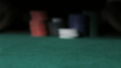 Casino. Poker Player going all-in Stock Video Footage