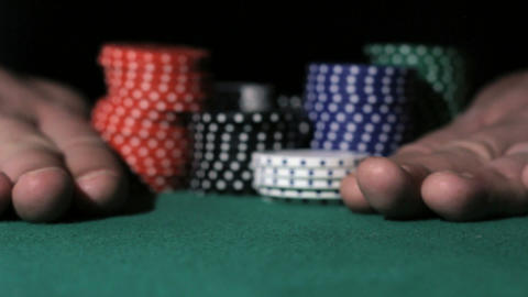 Casino. Poker Player going all-in Footage