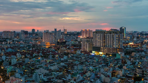 4k - CITY SUNSET - ZOOM on HO CHI MINH CITY TIME Footage