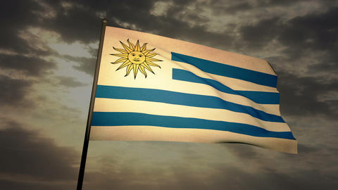 Flag Uruguay 03 Stock Video Footage