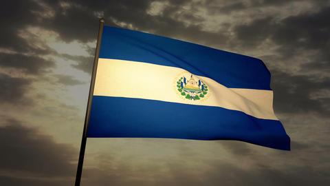 Flag Salvador 03 Stock Video Footage