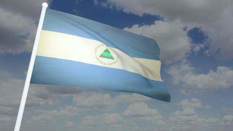 Flag Nicaragua 02 Stock Video Footage