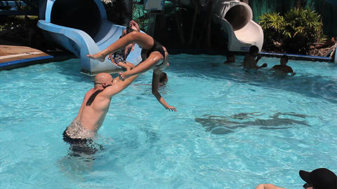 Boy Being Tossed At The Water Park Footage