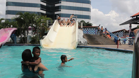 Young Adults Having Fun At The Water Park Stock Video Footage