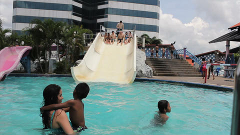 Young Adults Having Fun At The Water Park Footage