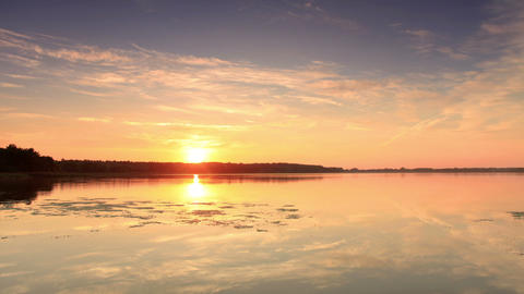 Sunset on the lake Mstino, Vyshnevolotsk district Stock Video Footage