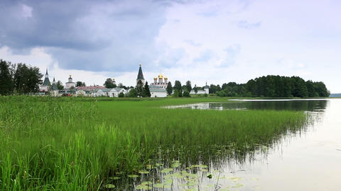 Movement of clouds over Valday Iversky Monastery Footage
