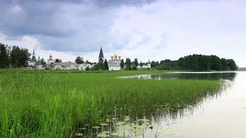 Movement of clouds over Valday Iversky Monastery Stock Video Footage