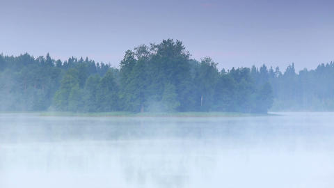 Mist over the lake Moiseevskoe, Valdaysky district Stock Video Footage