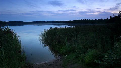 Sunset on the lake Moiseevskoe, Valdaysky district Stock Video Footage