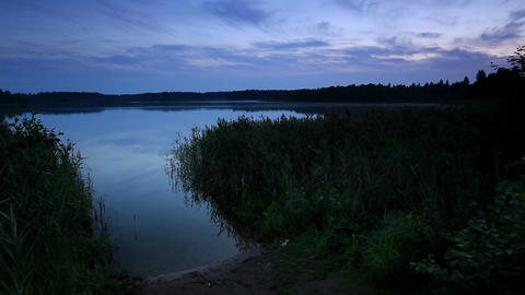 Sunset on the lake Moiseevskoe, Valdaysky district Stock Video Footage