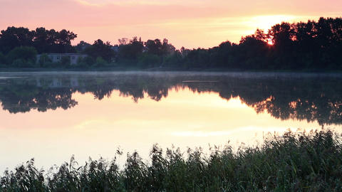 Sunrise over the reservoir in Vyshny Volochyok, Vy Stock Video Footage