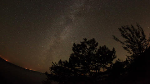 Starry sky over the reservoir in Kremenchuk. Mount Footage