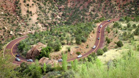 Switchback road in Zion Stock Video Footage