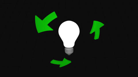 Bulb and green arrows - loop Animation