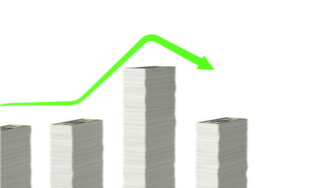 Graph with paper money bars. Looped animation. Alp Stock Video Footage