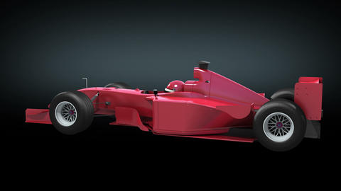 Formula One red color rotating on black background Animation
