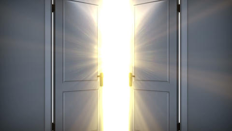 Door opening to a heaven light. Flares flying. HD Animation