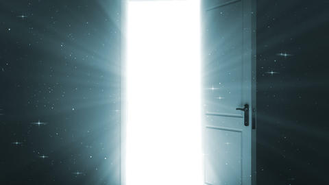 Door Opening To A Heaven Light. Sparks Flying. Alp stock footage
