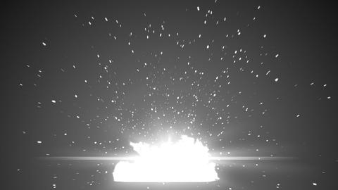 Big explosion with flash and sparks on black. Alph Animation