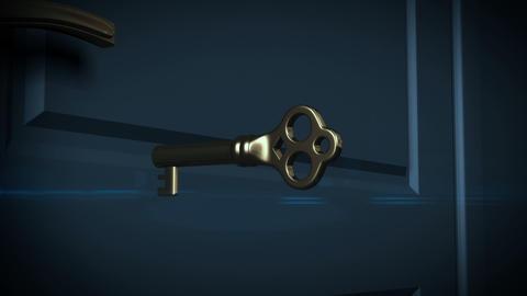 Key unlocking lock and door opening to a bright li Stock Video Footage