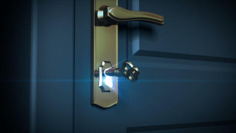 Key unlocking lock and door opening to a bright li Stock Video Footage
