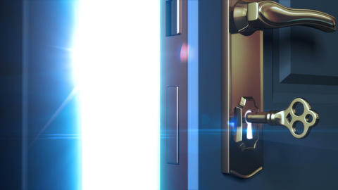 Key unlocking lock and door opening to a bright li Animation
