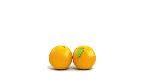 One orange rolling to another on white background. Animation