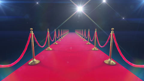 Unrolling Red Carpet animation and paparazzi camer Stock Video Footage