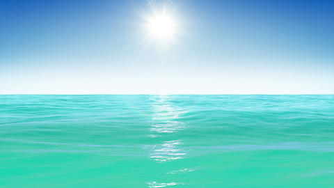 Sea and sun. Blue sky. Looped animation. HD 1080 Stock Video Footage