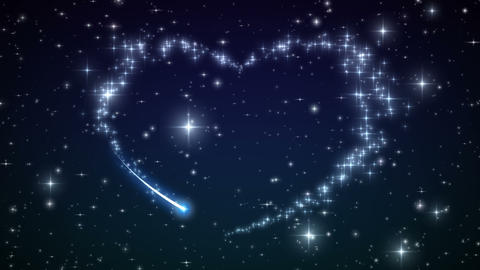 Heart made of twinkling Stars in the Beautiful nig Animation