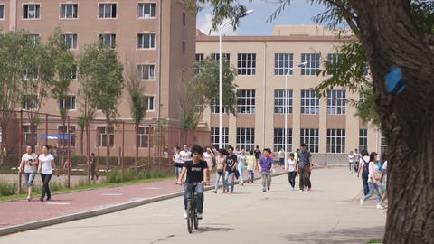 Chinese students walking Stock Video Footage
