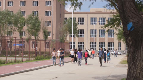 Chinese students walking Footage