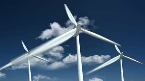 Wind turbines farm - alternative energy source Stock Video Footage