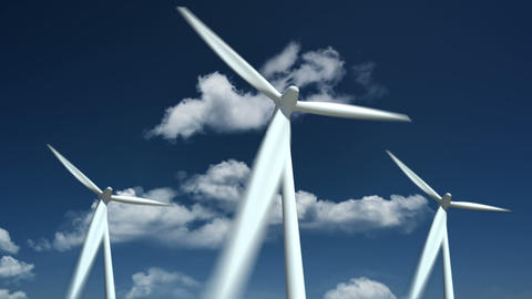 Wind turbines farm - alternative energy source Animation