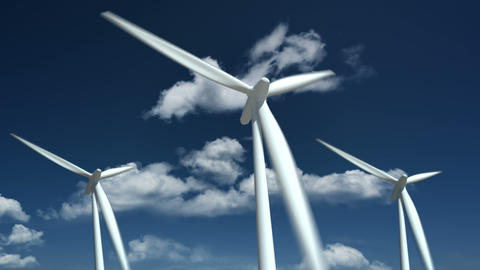 Wind turbines farm - alternative energy source Stock Video Footage