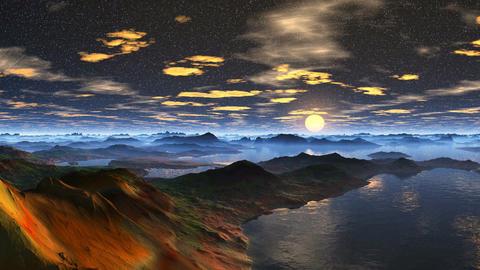 Moonrise on a fantastic planet Animation