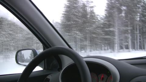 Winter. Moving car Footage