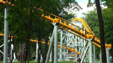 Roller coaster. Attraction Footage