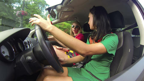 The girl driving the car Stock Video Footage