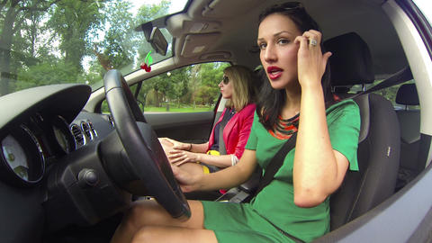 The girl driving the car Footage