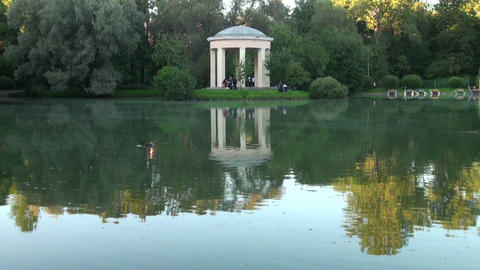 Arbour, reflected in the water Stock Video Footage