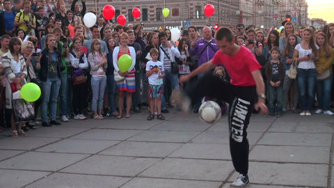 Juggler with the ball Footage