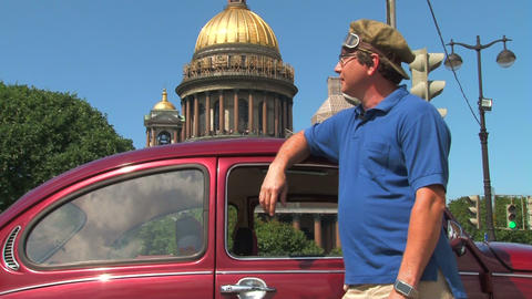 Driver and vehicle beetle Stock Video Footage
