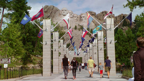 Mount Rushmore National Monument walkway and peopl Stock Video Footage