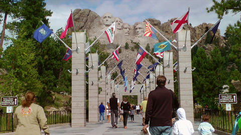 Mount Rushmore National Monument walkway and peopl Footage