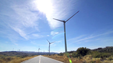 Rotating windmills Stock Video Footage